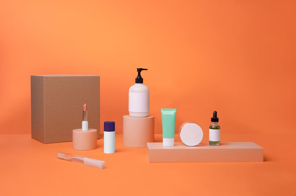 Beauty Products No Label Orange Background