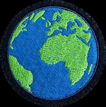 Embroidered Globe Badge