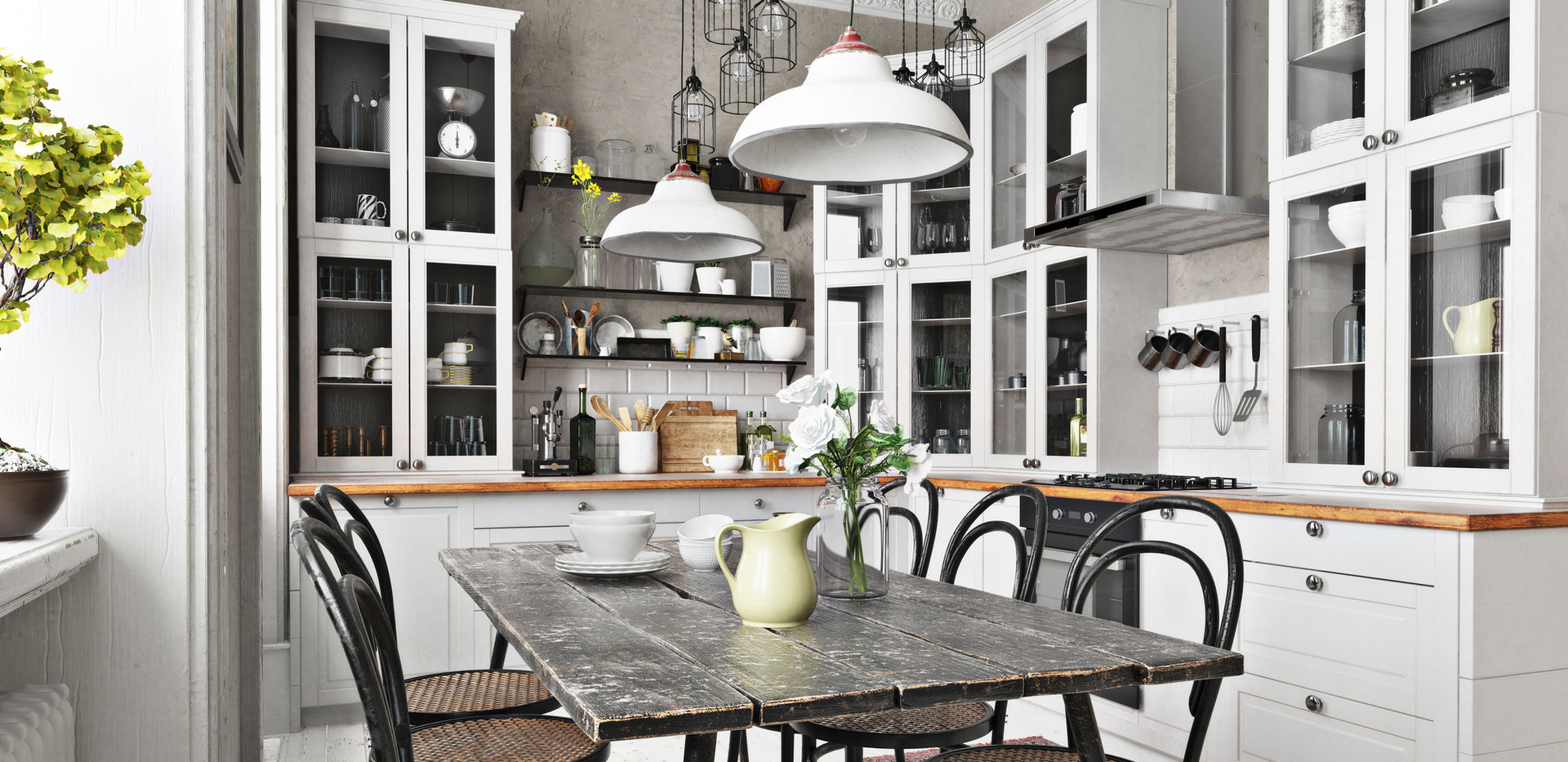 Country Style Kitchen with multiple lighting options