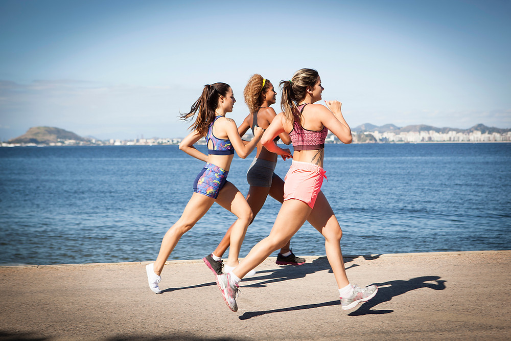 three women jogging