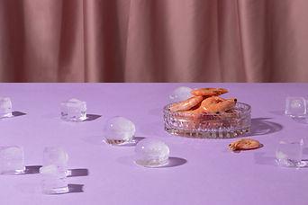 Garnalen en ijsblokjes