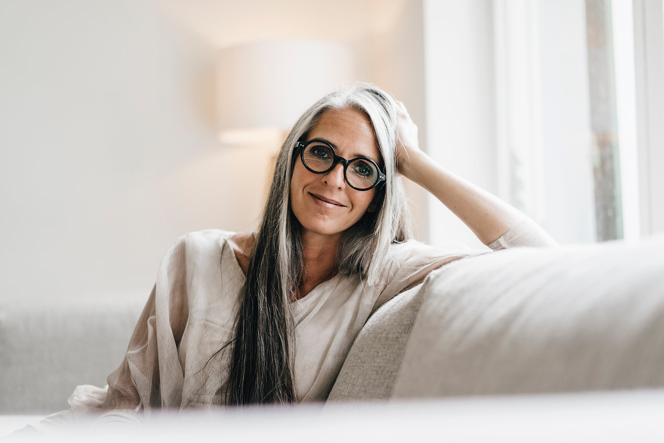 Woman with Long Grey Hair