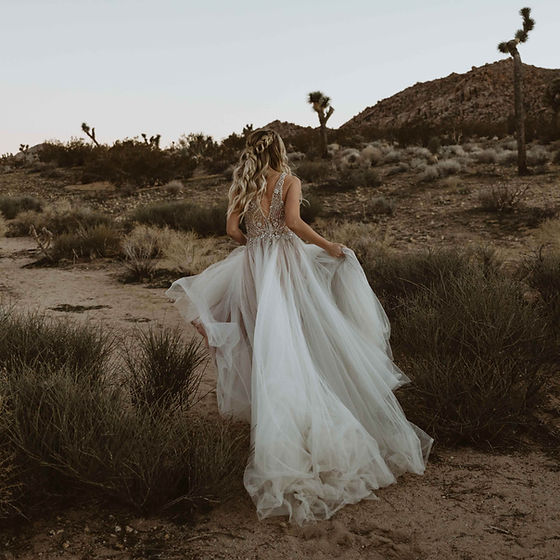 Bride Running in Desert