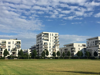 Neubausiedlung im Sommer
