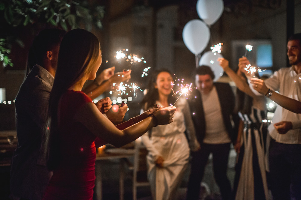 magical winter wedding #sparklers