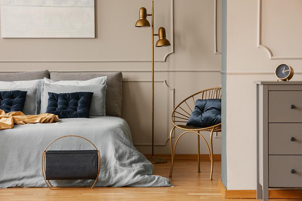 Ferienwohnung einrichten - Schlafzimmer im Glamourstil