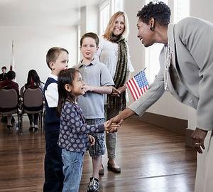 Politician Greeting Children