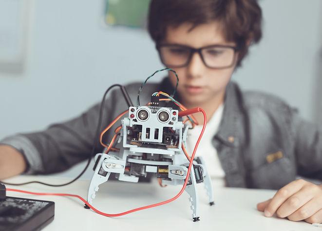 Мальчик с роботом DIY