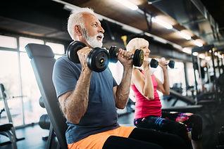 Weight Lifting Couple Elderly