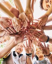 Handstapel der glücklichen Gruppe