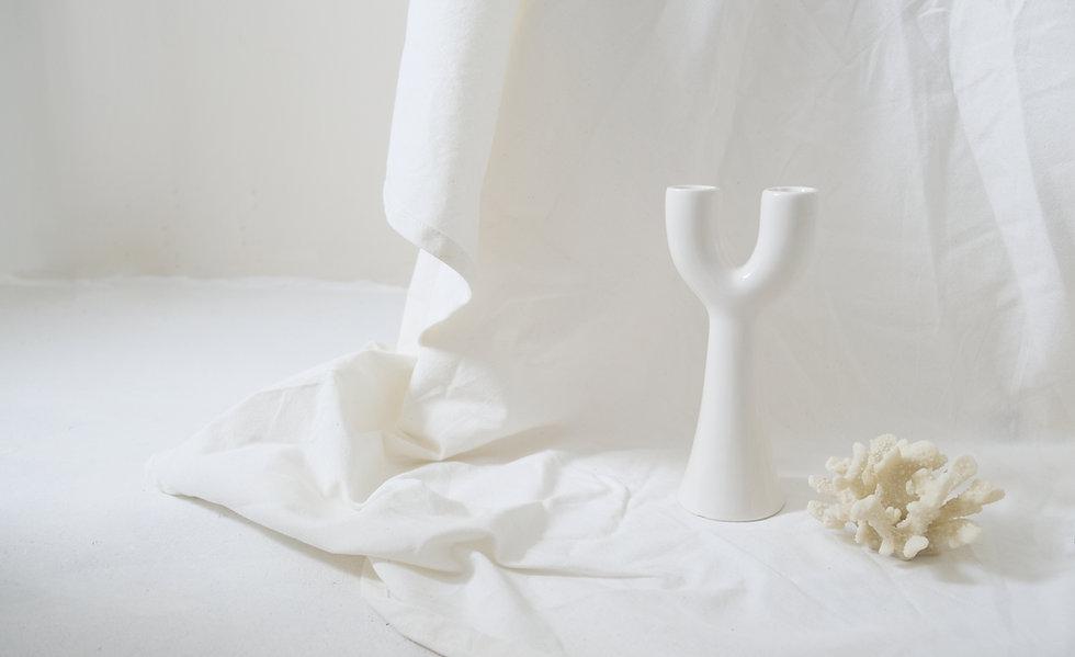 Vase à fleurs et corail