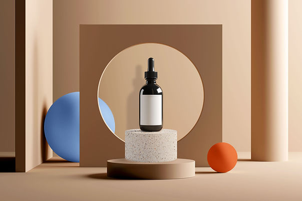 Cosmetic Bottle on Podium