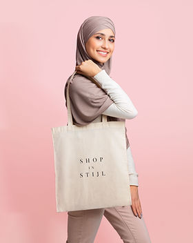 Woman with Canvas Bag