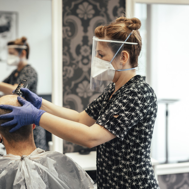 Hairdresser with Mask
