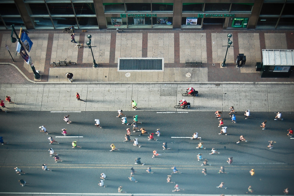 Aerial View of Runners