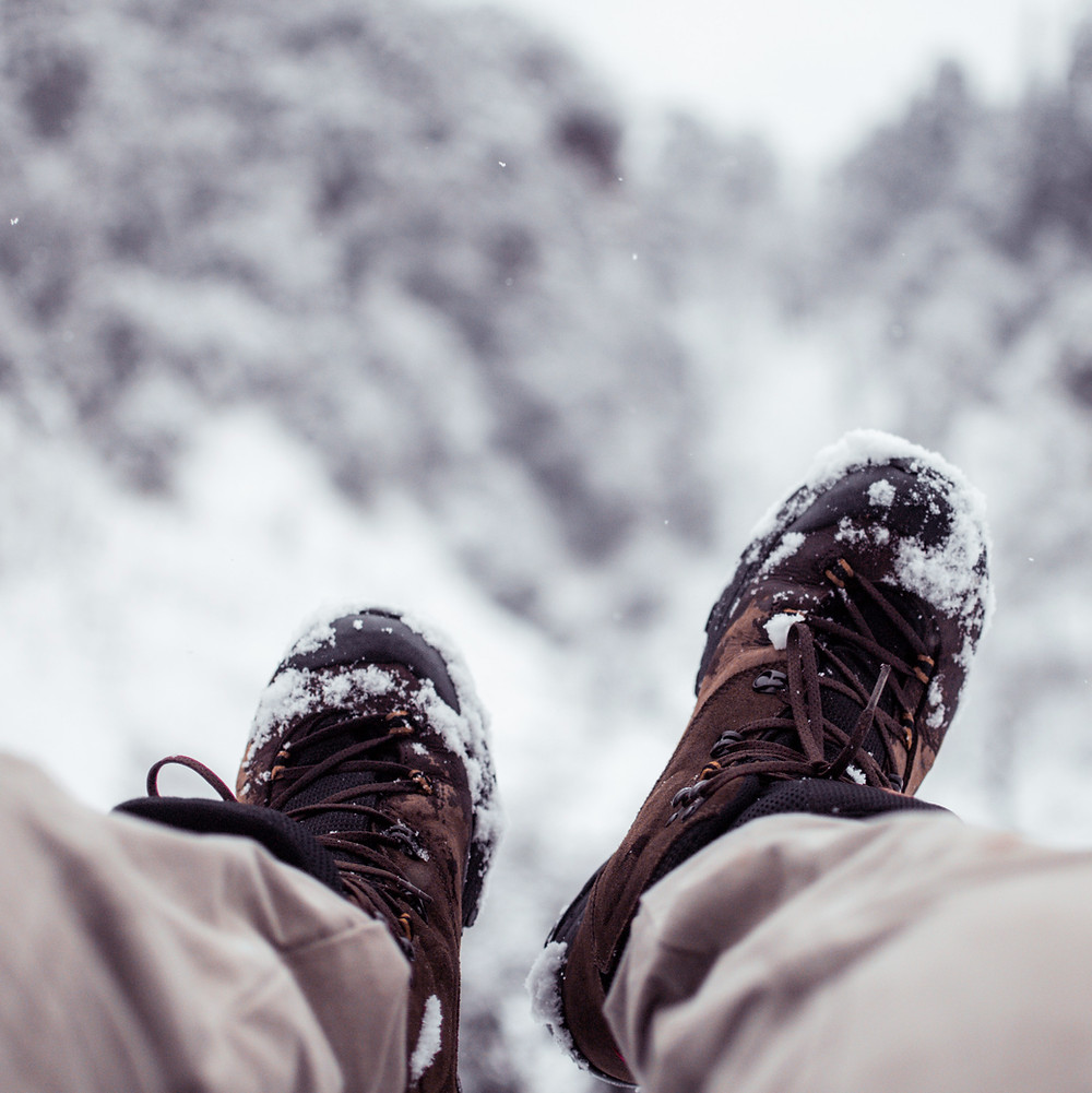 feet stuck in the snow