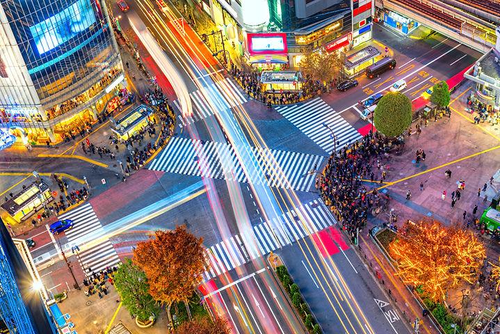 交差点の空撮風景