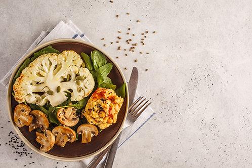 Plat végétarien  Salade de pommes de terre et légumes poêlés