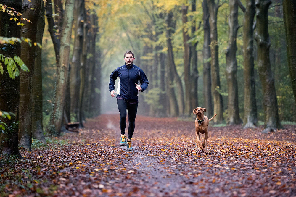 a man out running with his dog