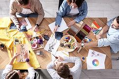 Birds-eye view of people creating art