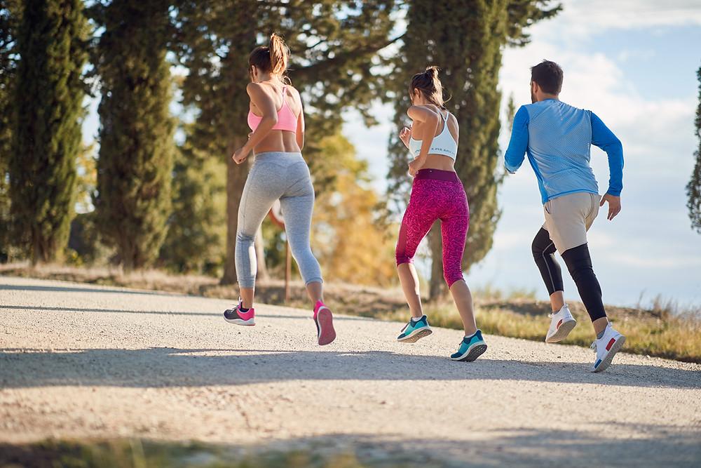 Confident runners meeting their training goals
