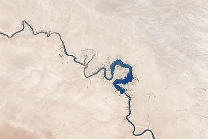 Vue aérienne, de, rivière courbée