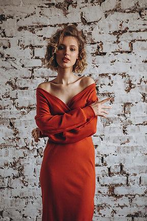 Model in Red Dress