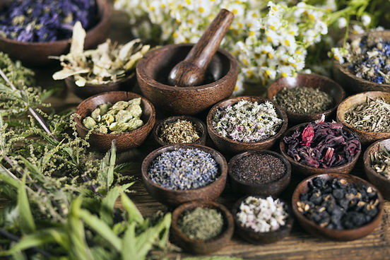 group of egyptian dried herbs and spices on wood table from Heil Herbs company