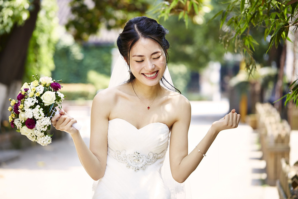 A photo of the happy bride made by professional wedding photographer
