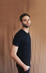 Young Man in Black T-shirt