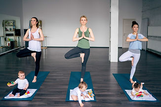 Young Mothers Practicing Yoga