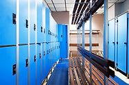 Blue storage lockers at hostel