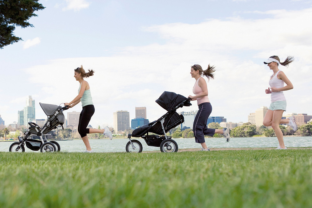 Mums' jogging with their pushchairs