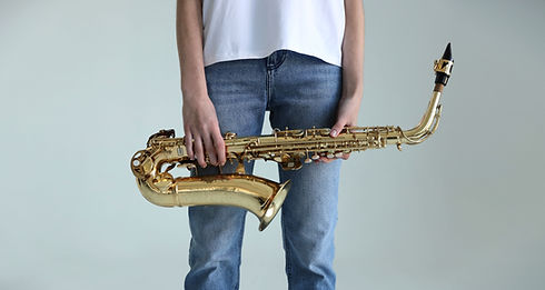 Holding a Saxophone