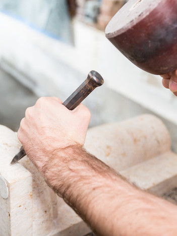 Handcrafted Stone Carver at Work