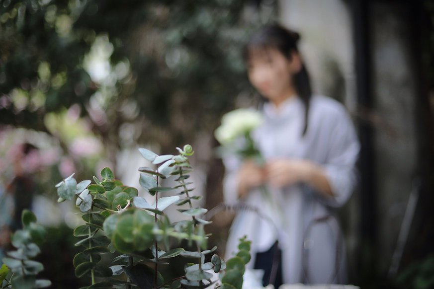 Femme, jardin