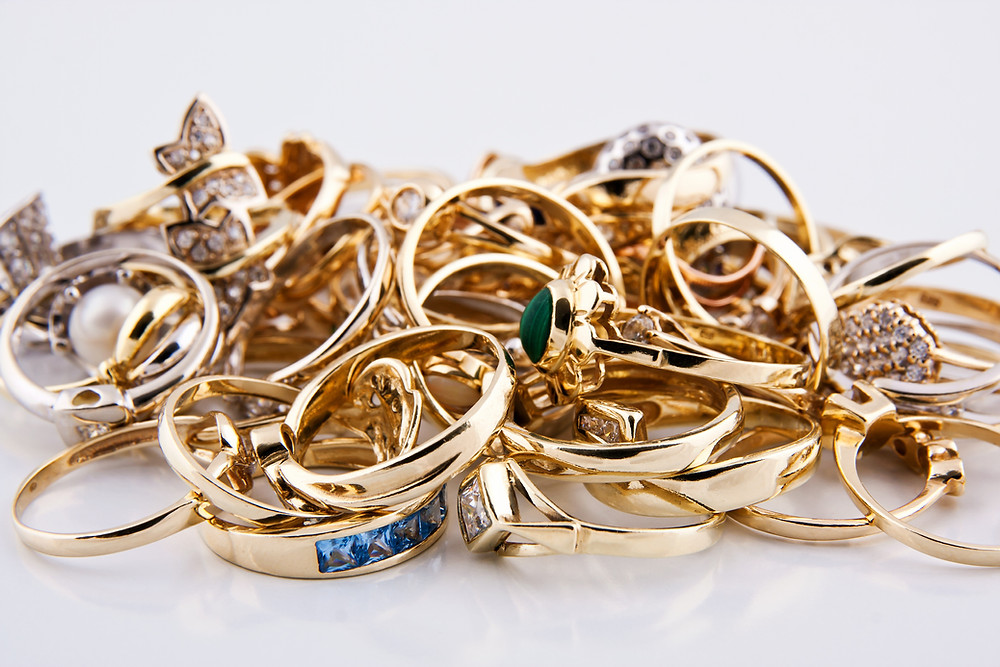 A pile of gold jewellery