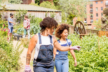 Community Garden with women walking through pointing. Communty support can happen wth onlne therapists in Kentucky. Mindsight Behavioral Group can hep connect you to the online counseling services in Kentucky that you need today!