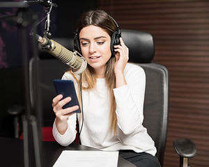 A Young woman in a recording studio