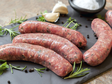 Sausages with Honey, Mint, Mustard & Lemon Dressing