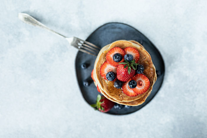 Blueberries and Strawberries Pancakes