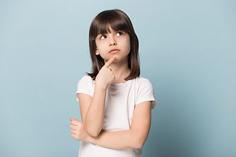 Little girl pondering a question. Check out Uedify's FAQ pages for both Student and Tutor users.
