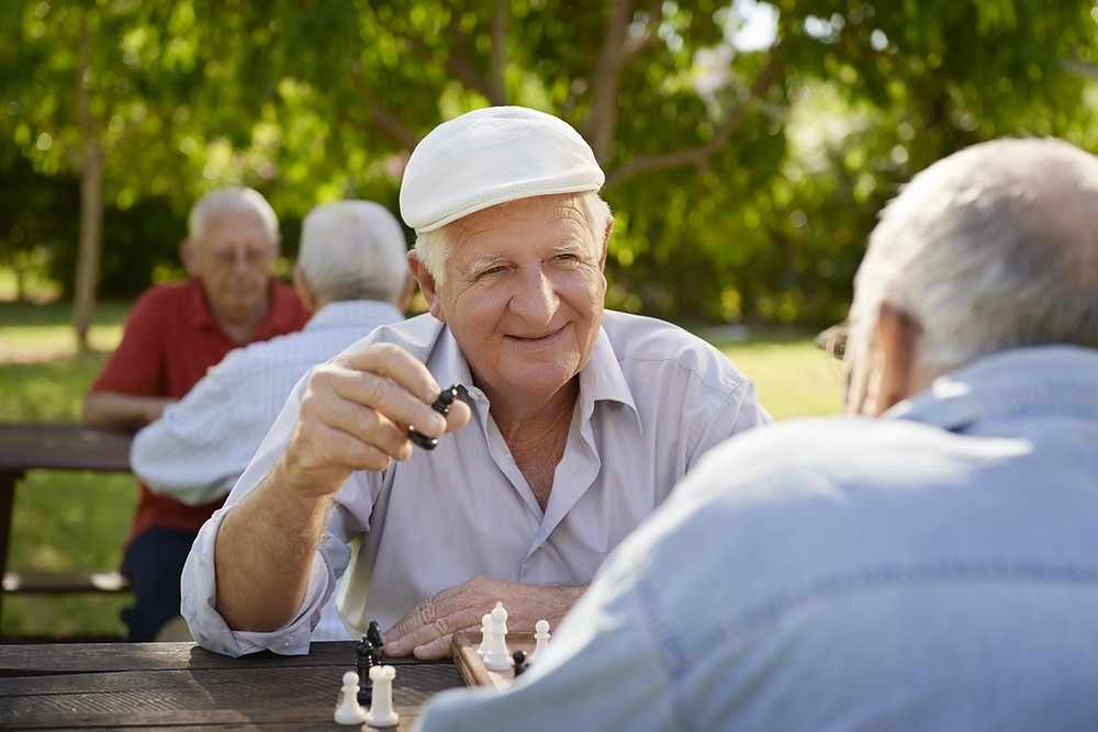 Elderly men socializing