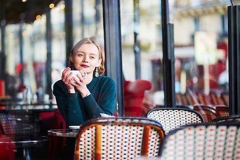 Femme, à, café