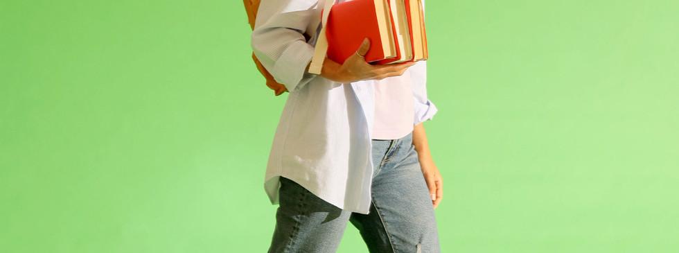 Schoolgirl with Books