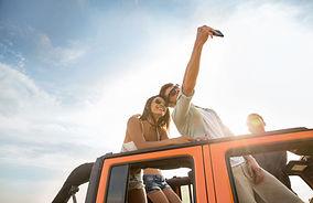Selfie de techo de coche