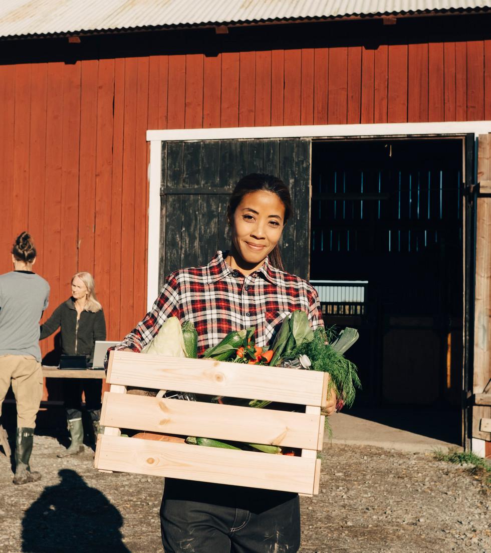 Femme à la caisse de légumes