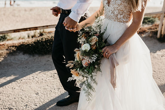 Couple with Bridals Bouquet