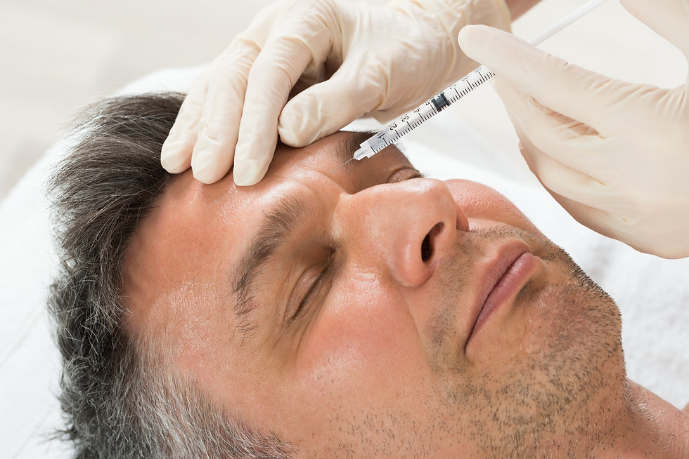 This shows a person injecting botox into a mans face.