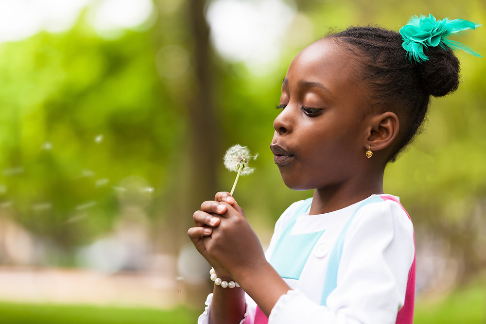Black girl be playfully mindful with blowing a dandelion